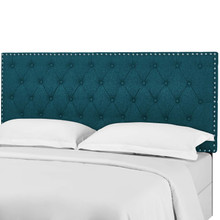 Helena Tufted King and California King Upholstered Linen Fabric Headboard, Fabric, Aqua Blue, 17692
