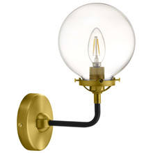 Reckon Amber Glass and Brass Wall Sconce Light, Glass Metal, Gold, 17803