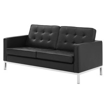Loft Tufted Upholstered Faux Leather Loveseat, Faux Vinyl Leather, Black Silver, 17805