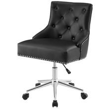 Regent Tufted Button Swivel Faux Leather Office Chair, Faux Vinyl Leather Aluminum, Black, 17856