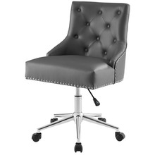 Regent Tufted Button Swivel Faux Leather Office Chair, Faux Vinyl Leather Aluminum, Grey Gray, 17857