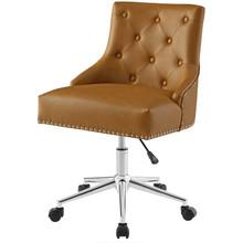 Regent Tufted Button Swivel Faux Leather Office Chair, Faux Vinyl Leather Aluminum, Tan Brown, 17858