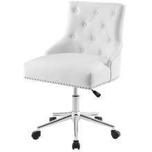 Regent Tufted Button Swivel Faux Leather Office Chair, Faux Vinyl Leather Aluminum, White, 17859
