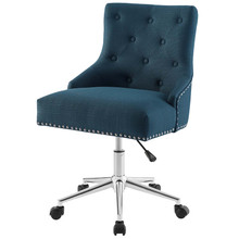 Regent Tufted Button Swivel Upholstered Fabric Office Chair, Fabric Aluminum, Navy Blue, 17860