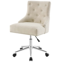 Regent Tufted Button Swivel Upholstered Fabric Office Chair, Fabric Aluminum, Beige, 17861