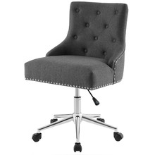 Regent Tufted Button Swivel Upholstered Fabric Office Chair, Fabric Aluminum, Grey Gray, 17862