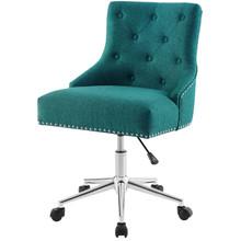 Regent Tufted Button Swivel Upholstered Fabric Office Chair, Fabric Aluminum, Aqua Blue, 17863