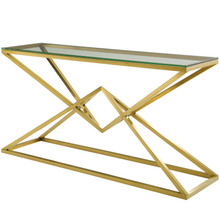 """Point 59"""" Brushed Gold Metal Stainless Steel Console Table, Glass Stainless Steel, Gold, 17866"""