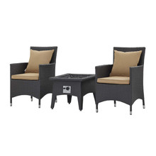 Convene 3 Piece Set Outdoor Patio with Fire Pit, Fabric Rattan Wicker, Light Brown, 17900