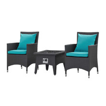 Convene 3 Piece Set Outdoor Patio with Fire Pit, Fabric Rattan Wicker, Blue, 17902