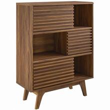 Render Three-Tier Display Storage Cabinet Stand, Wood, Natural Walnut Brown, 17992