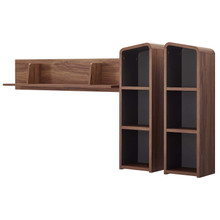 Omnistand Wall Mounted Shelves, Wood, Natural Walnut Gray Grey, 17999