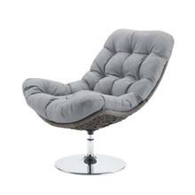 Brighton Wicker Rattan Outdoor Patio Swivel Lounge Chair, Rattan Wicker Fabric Metal, Grey Gray, 18009