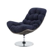 Brighton Wicker Rattan Outdoor Patio Swivel Lounge Chair, Rattan Wicker Fabric Metal, Navy Blue, 18010