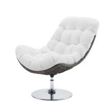 Brighton Wicker Rattan Outdoor Patio Swivel Lounge Chair, Rattan Wicker Fabric Metal, White, 18011