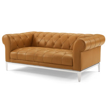 Idyll Tufted Button Upholstered Leather Chesterfield Loveseat, Leather, Tan Brown, 18065