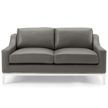 """Harness 64"""" Stainless Steel Base Leather Loveseat, Leather, Grey Gray, 18070"""