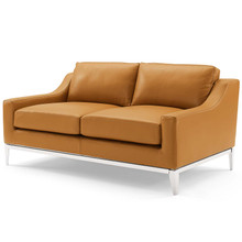 """Harness 64"""" Stainless Steel Base Leather Loveseat, Leather, Tan Brown, 18071"""