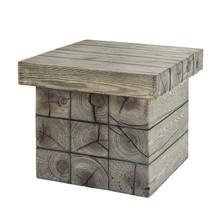 Manteo Rustic Coastal Outdoor Patio Side Table, Faux Simulate Wood, Light Grey Gray, 18074