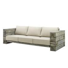 Manteo Rustic Coastal Outdoor Patio Sofa, Faux Simulate Wood, Beige, 18076