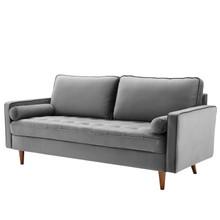 Valour Performance Velvet Sofa, Velvet Fabric, Grey Gray, 18081
