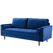 Valour Performance Velvet Sofa, Velvet Fabric, Navy Blue, 18082