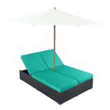 Arrival Chaise in Espresso Turquoise