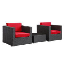 Burrow 3 Piece Patio Sectional Set in Espresso Red