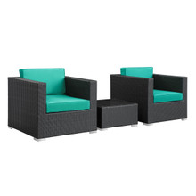 Burrow 3 Piece Patio Sectional Set in Espresso Turquoise