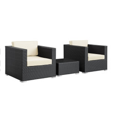 Burrow 3 Piece Patio Sectional Set in Espresso White
