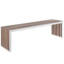 Gridiron Wood Inlay Large Bench in Walnut
