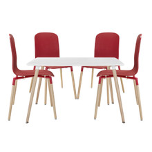 Stack Wood Dining Chairs and Table Set of 5 in Red