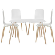 Stack Wood Dining Chairs and Table Set of 5 in White