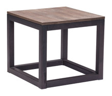 Civic Center Side Table, Brown Metal Wood