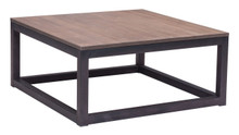 Civic Center Square Coffee Table, Brown Metal Wood