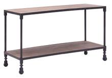 Mission Bay Wide Shelf, Brown Metal Wood