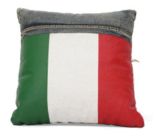 Cowboy Cushion Pillow, Blue Denim Italy Flag