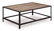 Sawyer Coffee Table, Brown Metal Wood