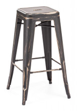 Marius Bar Stool Chair, Black  Steel (set of two)