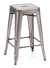 Marius Counter Stool, Gunmetal, Silver  Steel (set of two)