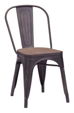 Elio Chair, Brown Wood Steel (set of two)