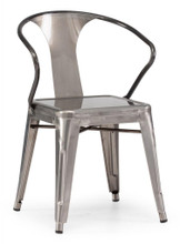 Helix Chair, Gunmetal, Silver  Steel (set of two)