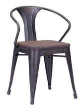 Helix Chair, Brown Wood Steel (set of two)