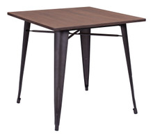 Titus Dining Table, Brown Wood Steel