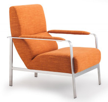Jonkoping Living Room Arm Chair, Orange  Brushed Stainless Steel