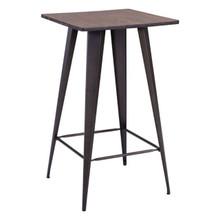 Titus Bar Table, Brown Wood Steel