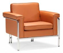Singular Living Room Arm Chair, Brown, Orange Leatherette Chrome Steel