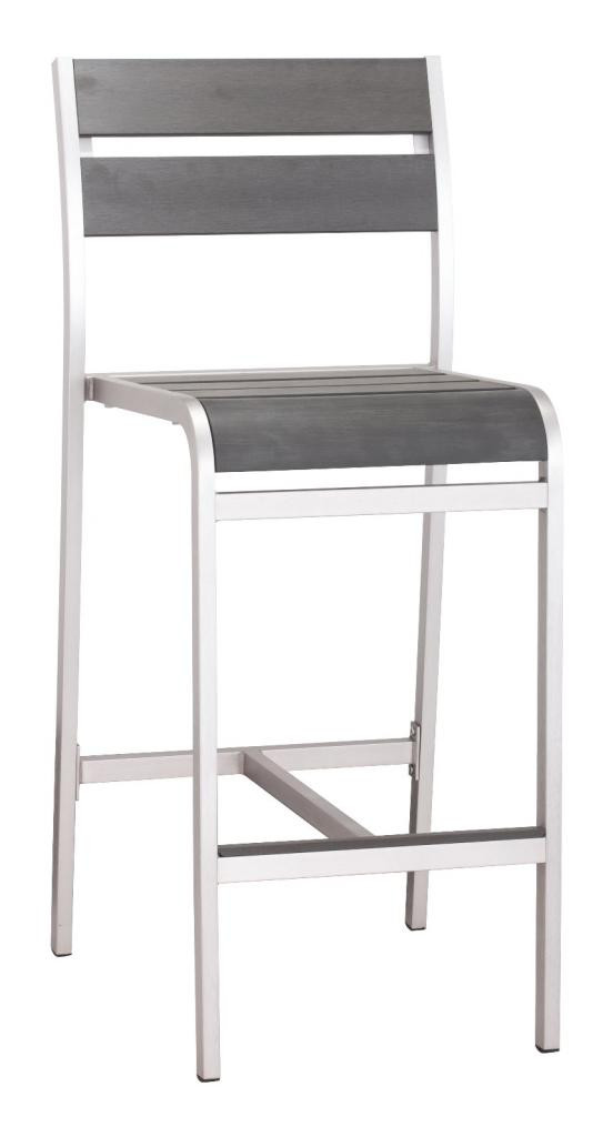 Megapolis Bar Stool Chair, Silver Brushed Aluminum (set of two) 703186