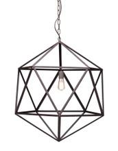 Amethyst Ceiling Lamp, Large Rustic Metal