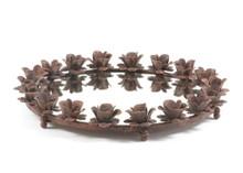 Iron Rose Round Mirrored Tray , Brown Metal